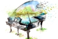 watercolor painting of a piano
