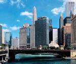Chicago skyline over a brdige