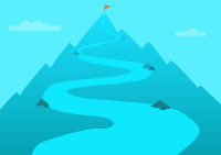 Graphic of a winding trail on a mountain with a flag at the top
