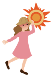 Illustration of a woman wearing a floppy hat under the sun